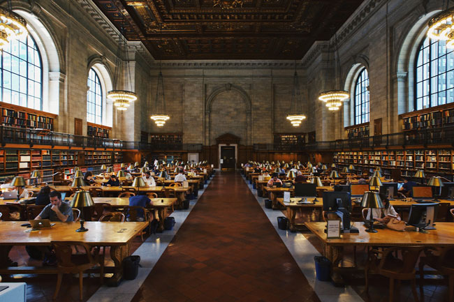 Interior of a large library