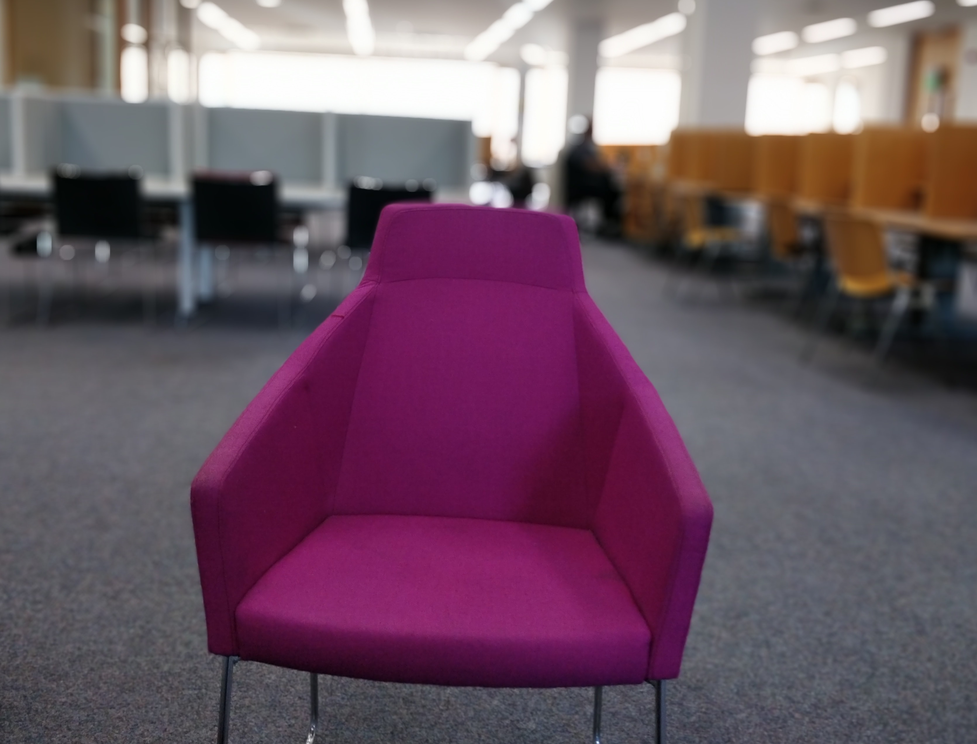 Purple Chair in DMV waiting area