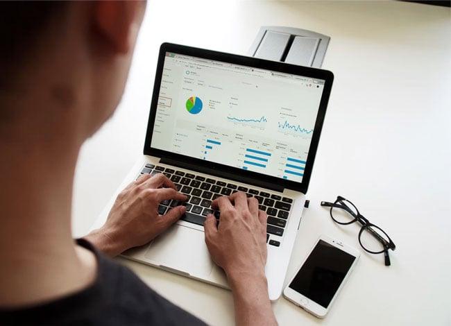 a computer user analyzes data