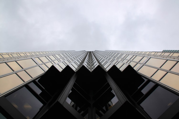 Worm's eye view of bank building