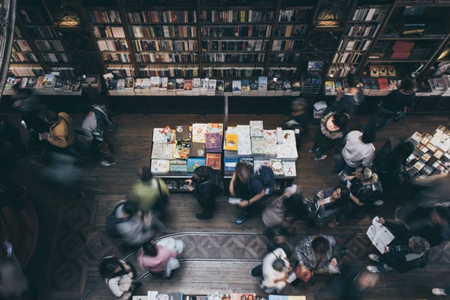 overhead view of a crowded bookstore