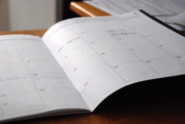 an appointment book on a desk
