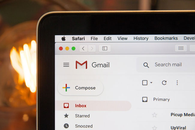 Gmail open on a laptop screen