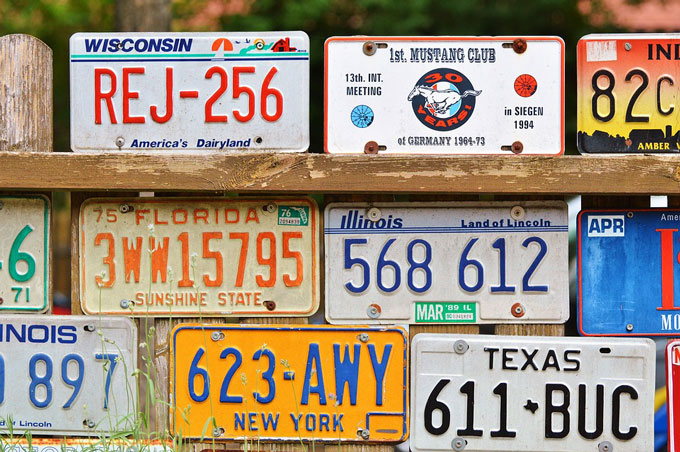 a display of license plates from different states