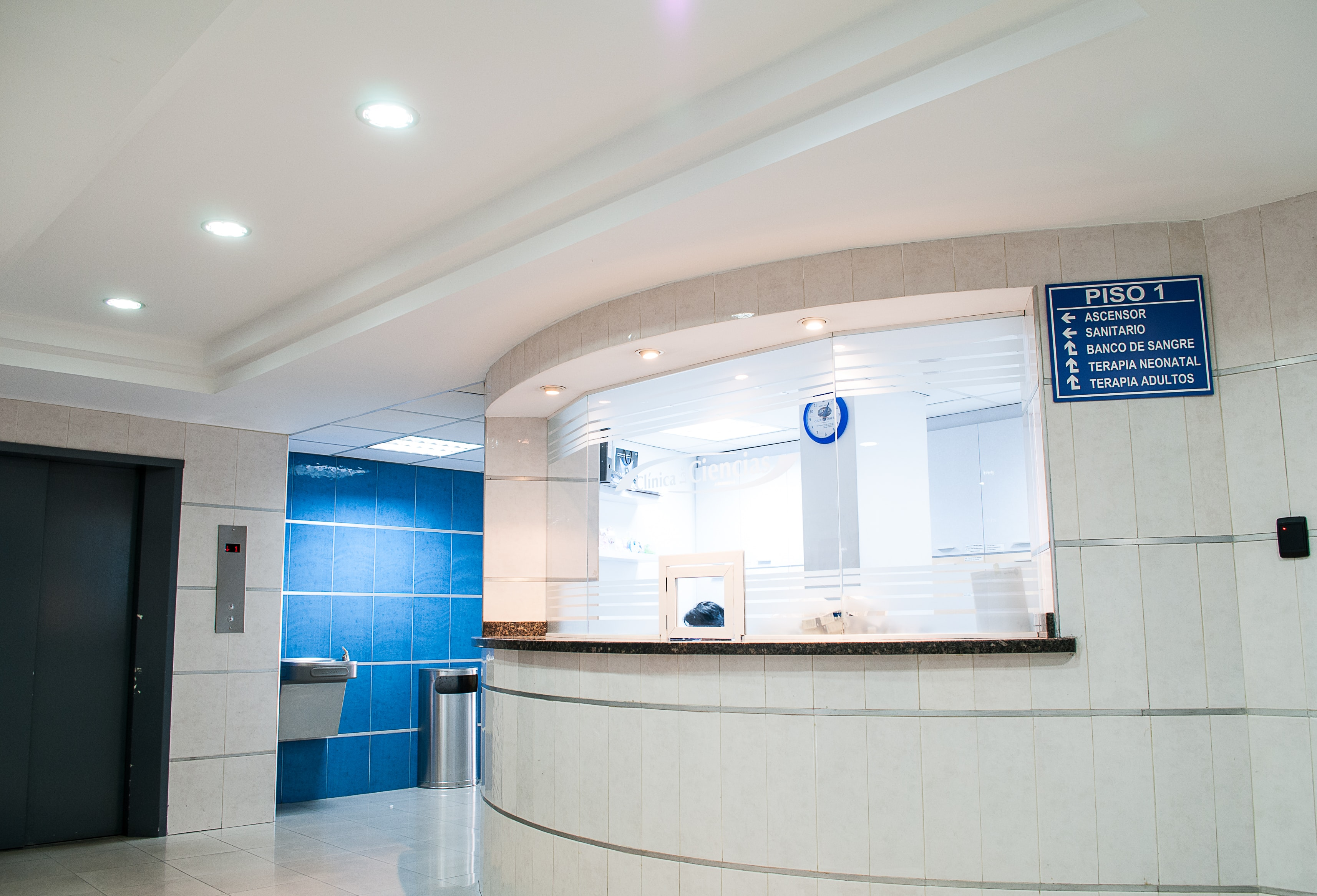 A white and blue medical waiting room