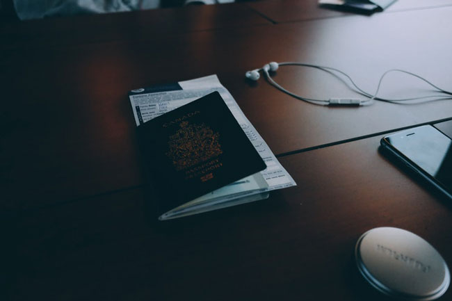 passport placed on a table