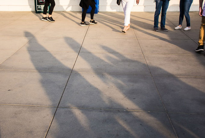 a group of people standing in line