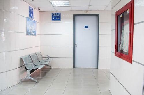 Small, empty hospital waiting room