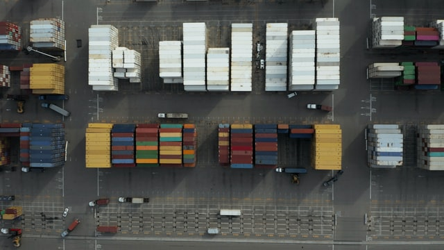 An aerial view of a logistics company loading lot.