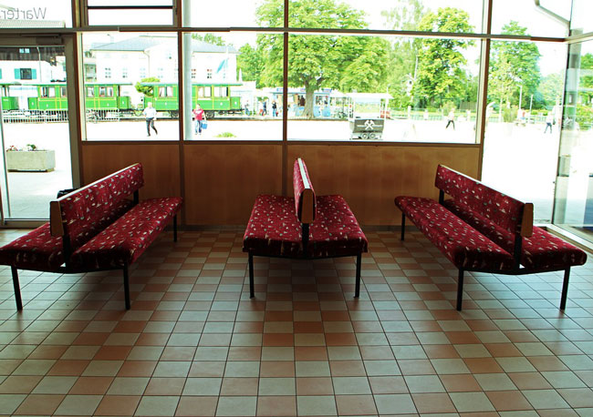 focus on an empty waiting area